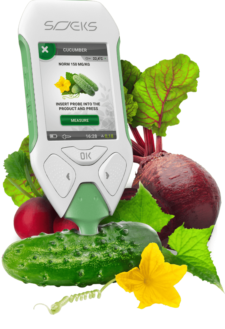 SOEKS EcoVisor F2 measures the nitrate content in the green vegetables and food you consume